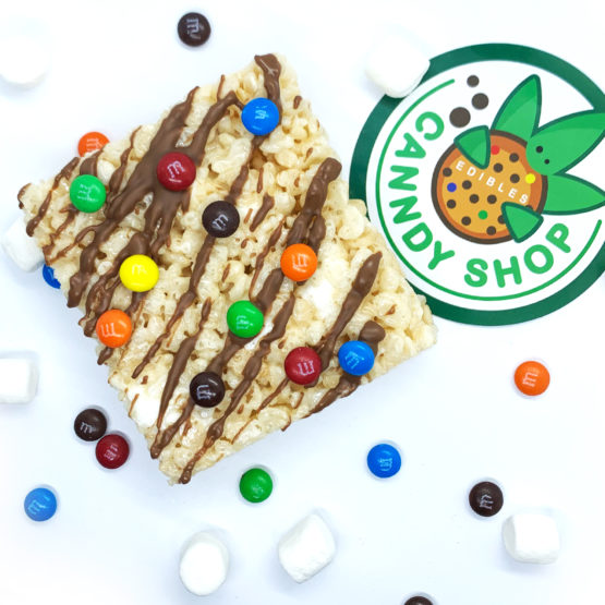 Canndy Shop Edibles THC Rice Krispie Squares with Chocolate Drizzle Mini MMs Creative