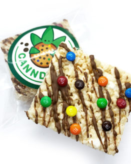 Canndy Shop Edibles THC Rice Krispie Squares with Chocolate Drizzle Mini MMs Package
